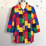 90S AESTHETIC RAINBOW PLUS SIZE BLOUSE-Cosmique Studio - Aesthetic Clothing