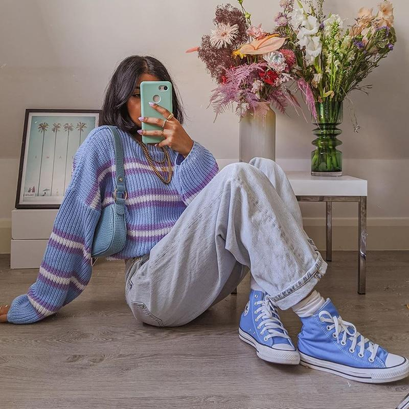 90S AESTHETIC STYLE KNITTED SWEATER - Cosmique Studio