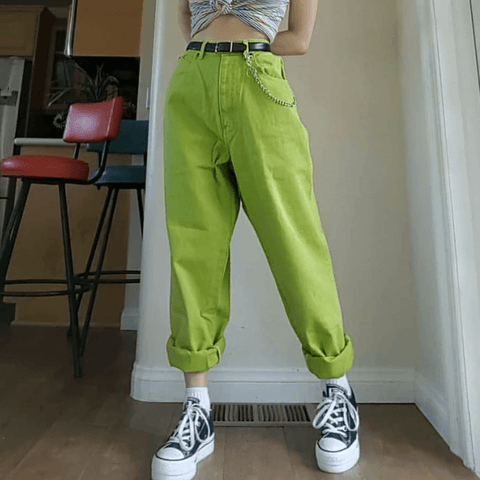 90S AESTHETIC VINTAGE SOLID GREEN PANTS-Cosmique Studio-Aesthetic Clothing Store