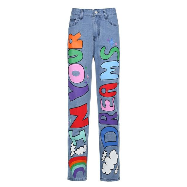 90'S GRAPHICS Y2K STYLE BAGGY JEANS - Cosmique Studio - Aesthetic Outfits