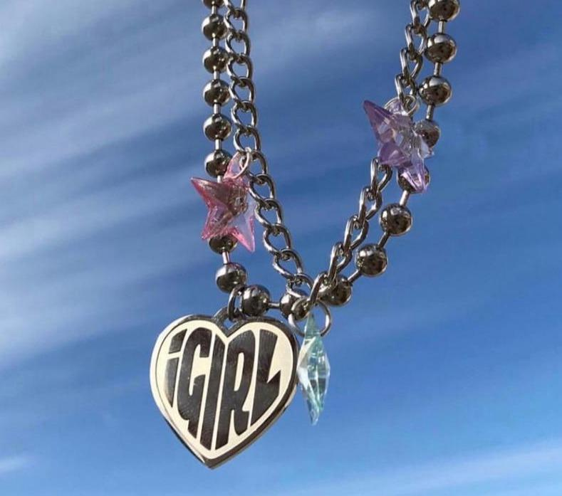 90S IGIRL HEART NECKLACE - Cosmique Studio - Aesthetic Outfits