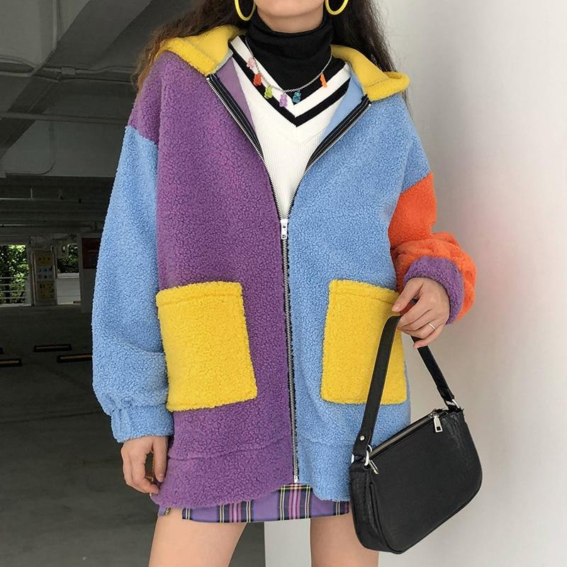 90'S PATCHWORK CUTE TEDDY COAT - Cosmique Studio - Aesthetic Outfits