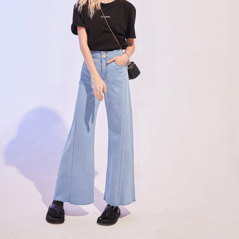 90S VINTAGE BLUE SOLID HIGH WAIST DENIM JEANS - Cosmique Studio