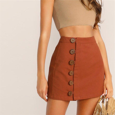90S VINTAGE BUTTON BROWN MINI SKIRT-Cosmique Studio