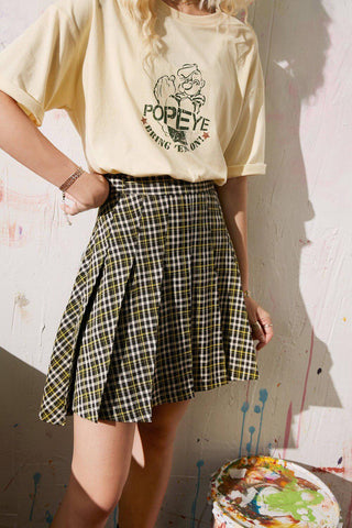 90S VINTAGE SCHOOL GIRL PLAID HIGH WAIST CASUAL PLEATED MINI SKIRT-Cosmique Studio