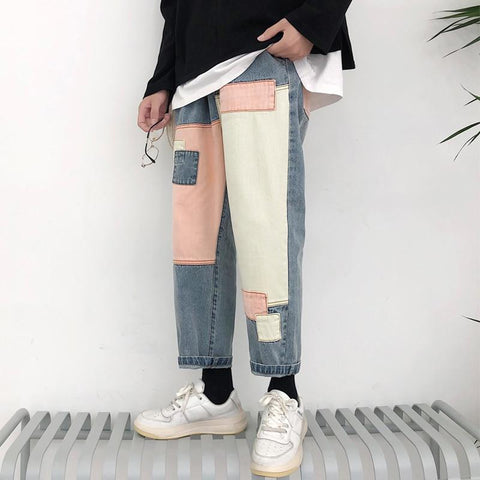 AESTHETIC ART HOE MEN DENIM PANTS - Cosmique Studio