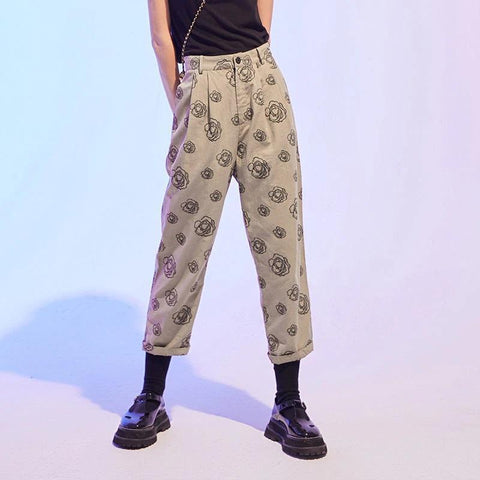 AESTHETIC ART HOE STYLE FLORAL PRINT CASUAL PANTS - Cosmique Studio