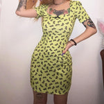 AESTHETIC BUTTERFLY PRINT YELLOW MINI DRESS-Cosmique Studio-Aesthetic Clothing Store