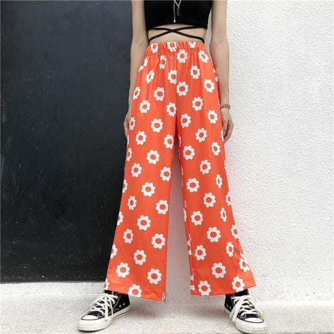 AESTHETIC CUTE FLOWER PRINT PANTS-Cosmique Studio-Aesthetic-Egirl-Grunge-Clothing