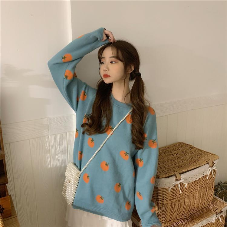 AESTHETIC CUTE ORANGE SWEATER-Cosmique Studio