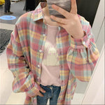 AESTHETIC CUTE PINK RAINBOW SHIRT - Cosmique Studio