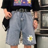 AESTHETIC DAISY DENIM SHORTS-Cosmique Studio-Aesthetic Clothing Store