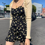AESTHETIC FLORAL SPAGHETTI STRAP MINI DRESS-Cosmique Studio-Aesthetic Clothing Store