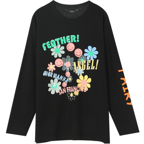 AESTHETIC FLOWERS ANGELS PURE LONG SLEEVE TEE - Cosmique Studio