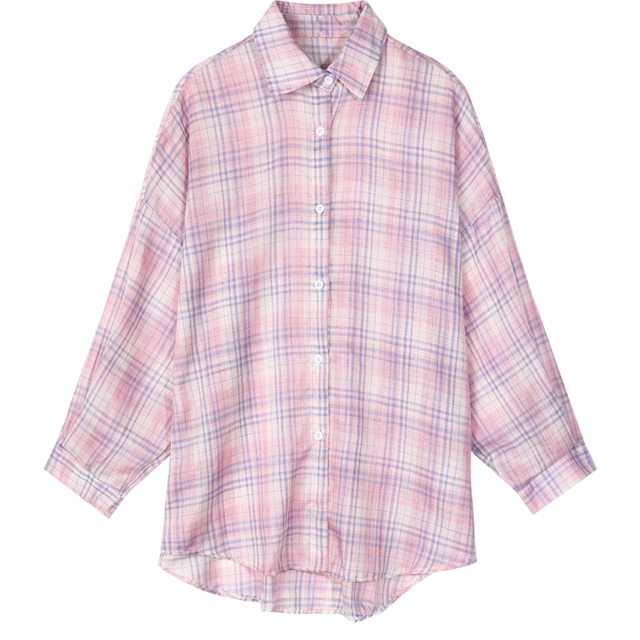 AESTHETIC GIRL MULTICOLOR PLAID BRITISH SINGLE BREASTED CASUAL SHIRT - Cosmique Studio