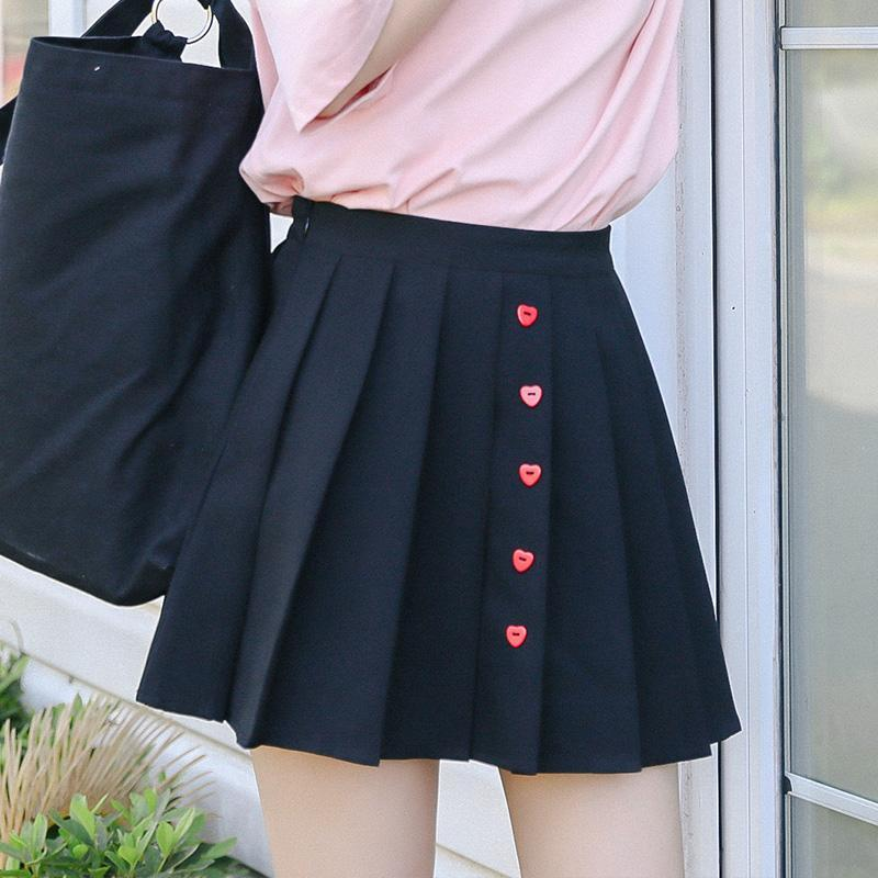 AESTHETIC HEART BUTTON MINI SCHOOLGIRL SKIRT - Cosmique Studio