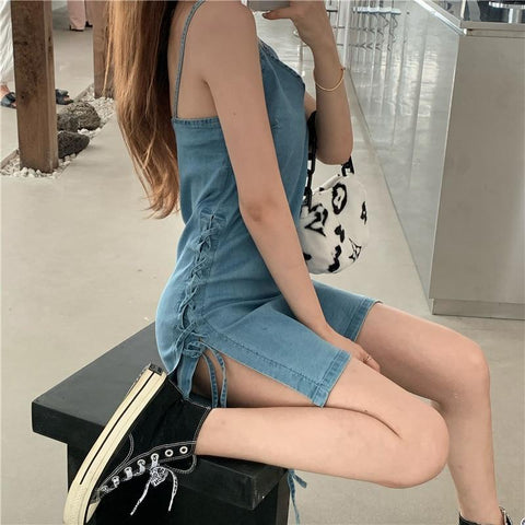 AESTHETIC KOREAN DENIM MINI DRESS - Cosmique Studio