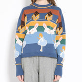 AESTHETIC RETRO CUTE RABBIT SWEATER-Cosmique Studio