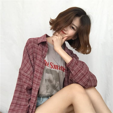 AESTHETIC RETRO PLAID SHIRT - Cosmique Studio