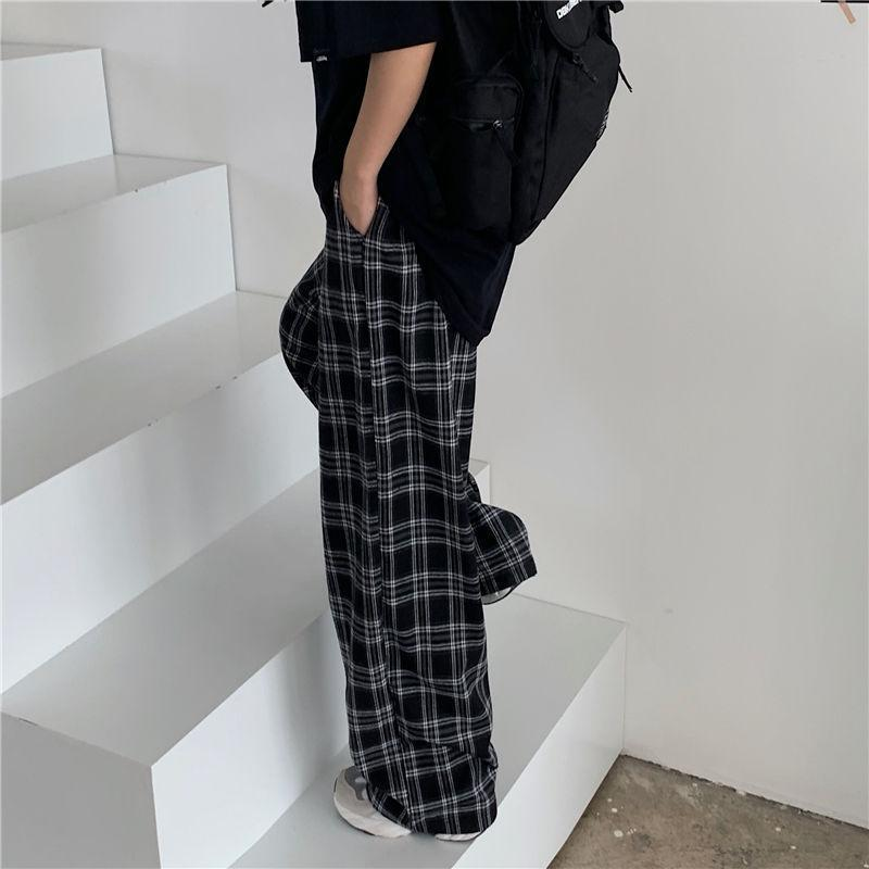 AESTHETIC RETRO PLUS SIZE PLAID PANTS-Cosmique Studio-aesthetic-clothing-store