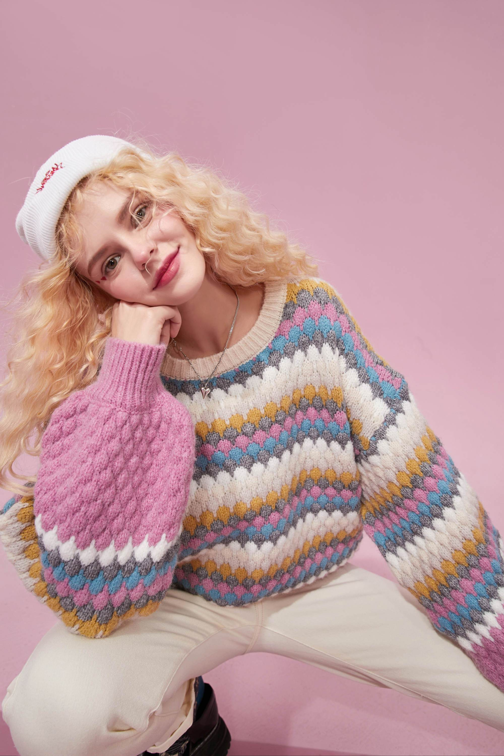 AESTHETIC SOFT GIRL COLORFUL STRIPED SWEATER-Cosmique Studio-Aesthetic-Outfits
