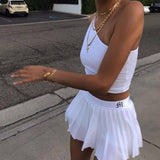 AESTHETIC SOFT GIRL WHITE PLEATED SEXY MINI SKIRT-Cosmique Studio