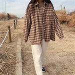 AESTHETIC SOFT VINTAGE PLAID SHIRT-Cosmique Studio-aesthetic-clothing-store