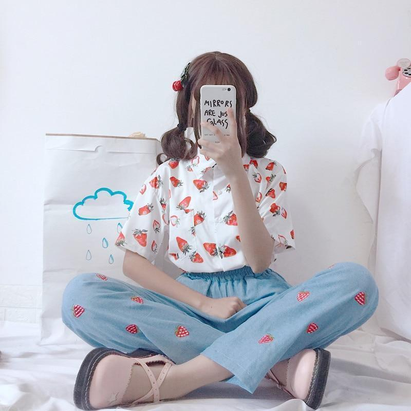 AESTHETIC STRAWBERRY KAWAII SHIRT-Cosmique Studio