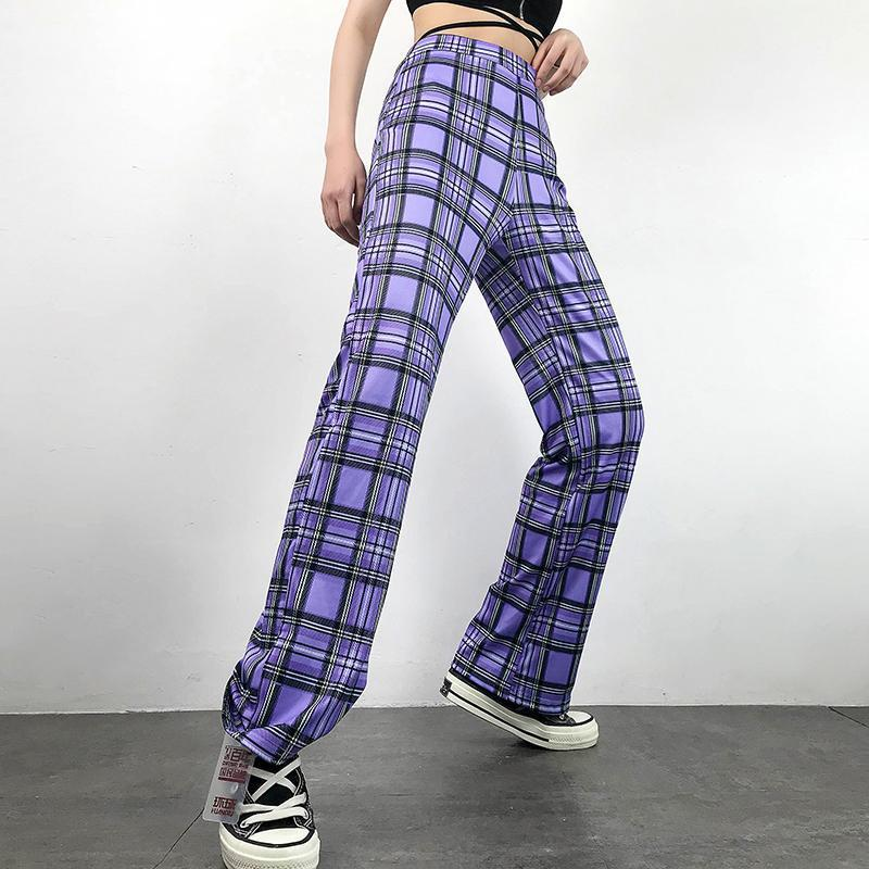 AESTHETIC STYLE PURPLE PLAID HIGH WAIST PANTS-Cosmique Studio