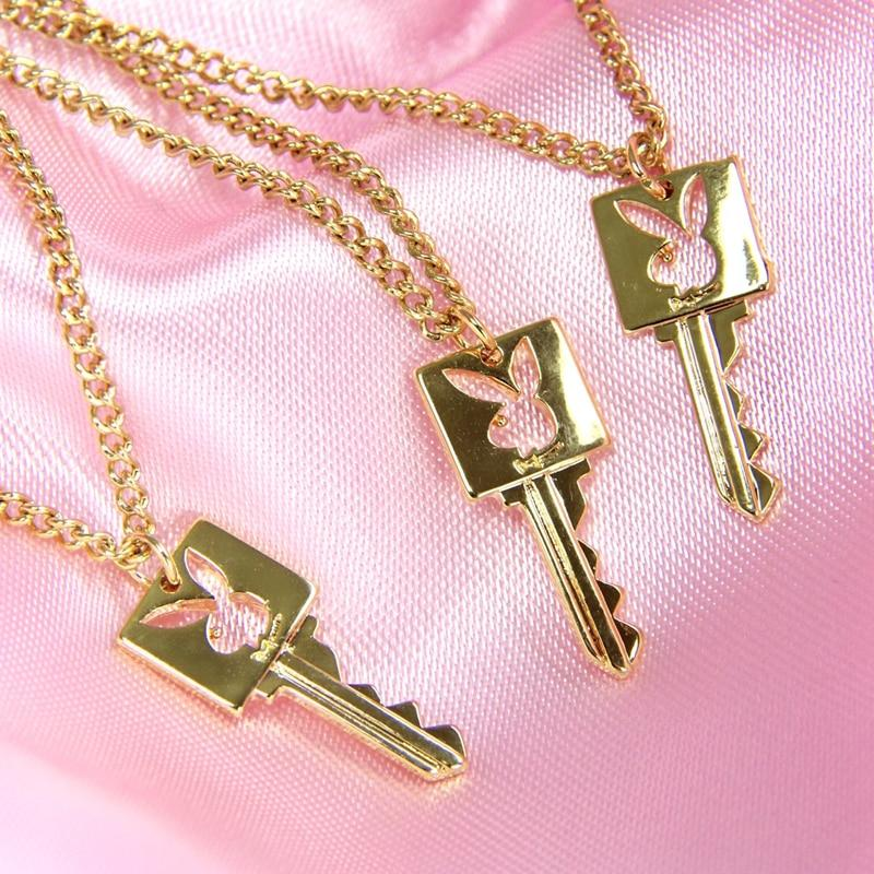 AESTHETIC STYLE RABBIT LOCK AND KEY NECKLACES-aesthetic-clothing-cosmiquestudio.com