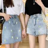 AESTHETIC SUN DAISY EMBROIDERY DENIM SHORTS-Cosmique Studio-Aesthetic Clothing Store