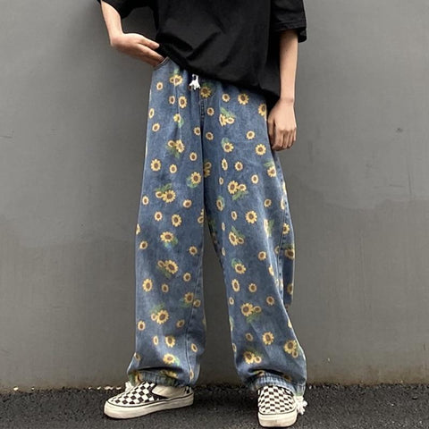 AESTHETIC SUNFLOWER PRINT WIDE LEG DENIM PANTS-Cosmique Studio