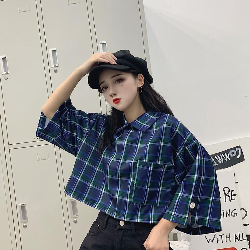 AESTHETIC TRENDY PLAID SHIRT-Cosmique Studio-aesthetic-clothing-store