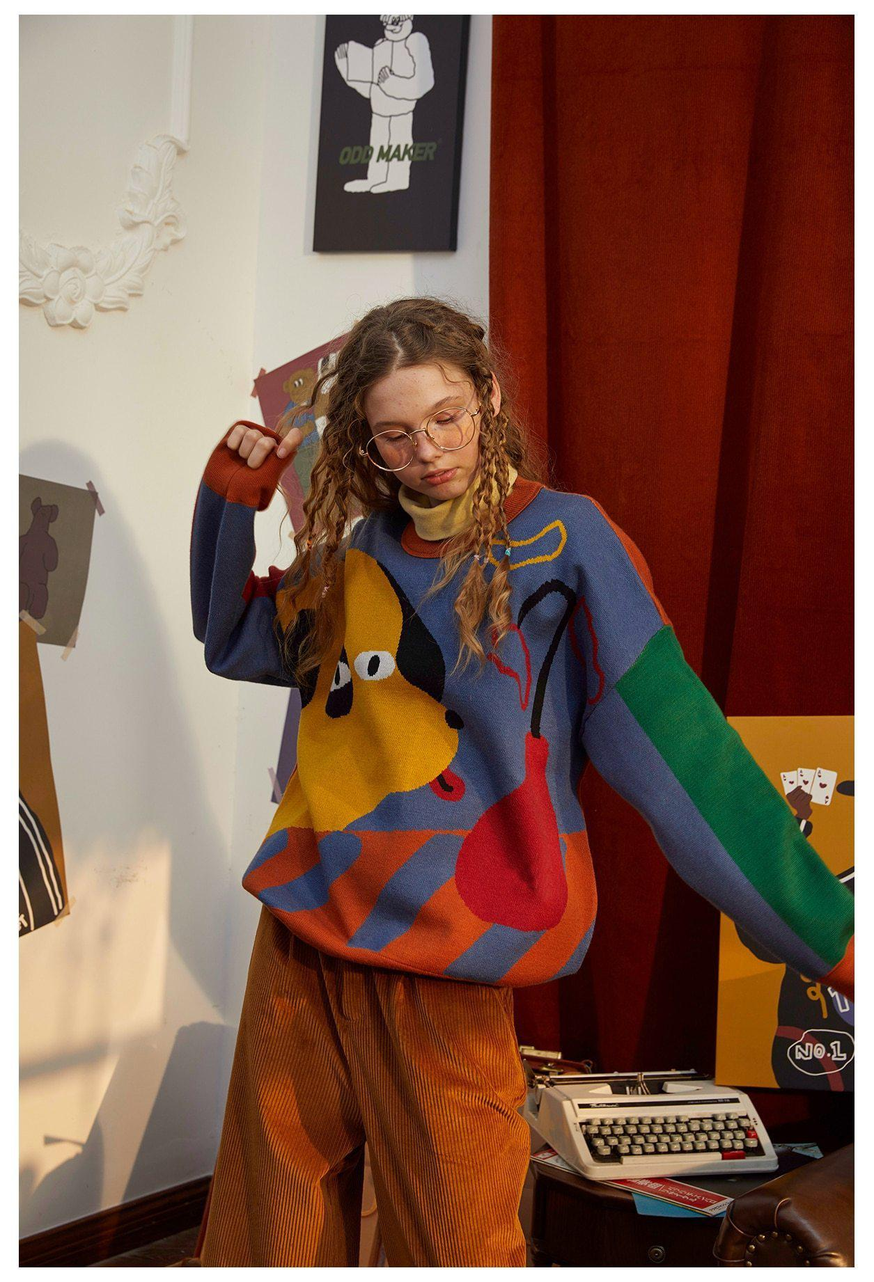 AESTHETIC VINTAGE COLORFUL DOG SWEATER-Cosmique Studio-Aesthetic-Outfits