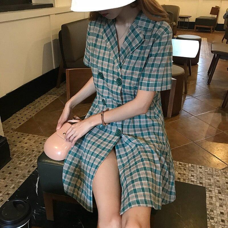 AESTHETIC VINTAGE DOUBLE BREASTED SUIT COLLAR PLAID MIDI DRESS - Cosmique Studio