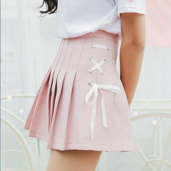 AESTHETIC VINTAGE PLEATED BOW TIE MINI SKIRT - Cosmique Studio