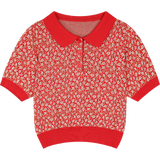 AESTHETIC VINTAGE RED FLORAL CROP TEE - Cosmique Studio