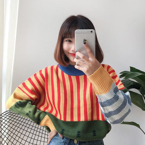 AESTHETIC WILD COLOR STITCHING KOREAN SWEATER - Cosmique Studio