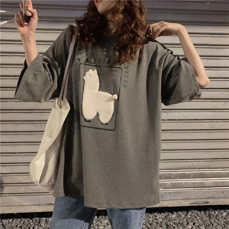 ALPACA ANIMAL PRINTED LOOSE TEE - Cosmique Studio
