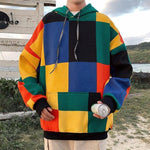 AUTUMN COLORED PLAID MEN HOODIE-Cosmique Studio-aesthetic-clothing-store