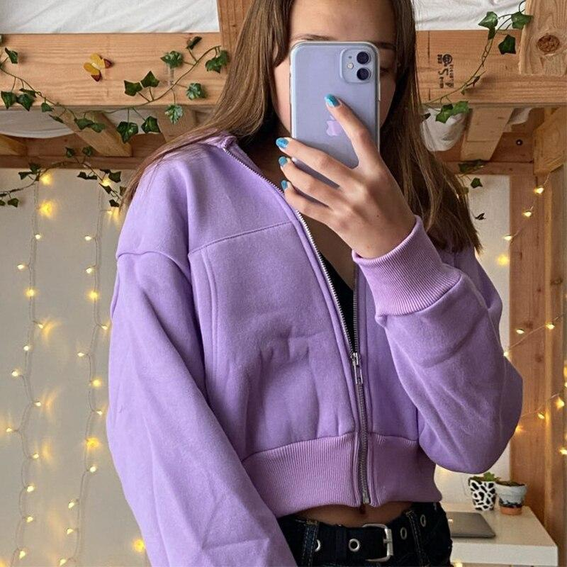 AUTUMN PURPLE ZIPPER CROP HOODIE