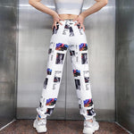 BEST AESTHETIC GRAPHIC PRINTED HIGH WAIST PANTS - Cosmique Studio