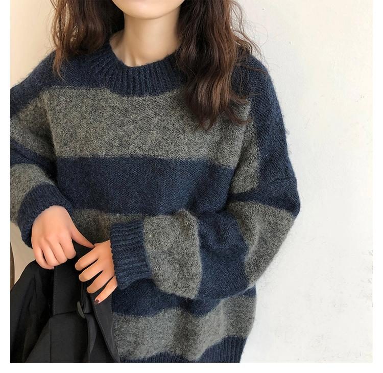 BF OVERSIZED STRIPED SWEATER - Cosmique Studio - Aesthetic Outfits