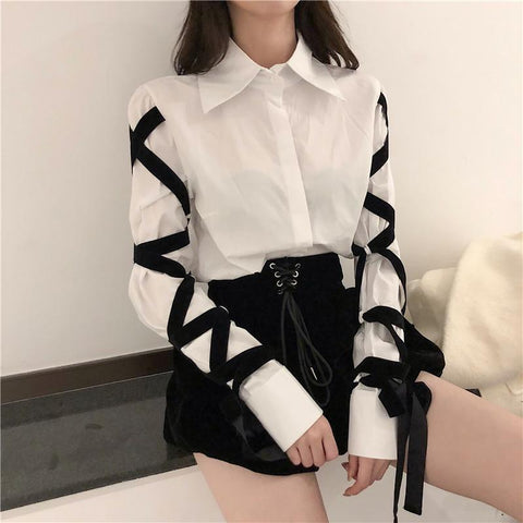 BLACK BANDAGE TURN-DOWN COLLAR EDGY EGIRL SHIRT-Cosmique Studio-Aesthetic-Egirl-Grunge-Clothing