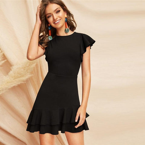 BLACK ELEGANT V-BACK LAYERED RUFFLE MINI DRESS-Cosmique Studio-Aesthetic Clothing Store