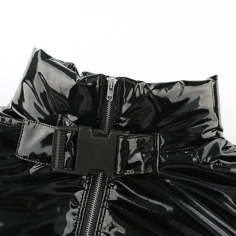 BLACK GLOSSY LEATHER JACKET-Cosmique Studio