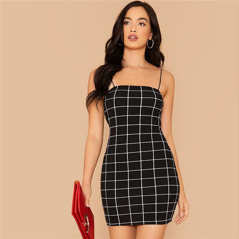 BLACK GRID SEXY SPAGHETTI STRAP MINI DRESS-Cosmique Studio-Aesthetic Clothing Store