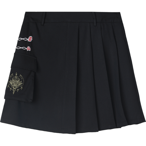 BLACK GRUNGE GIRL A-LINE EMBROIDERY CASUAL PLEATED MINI SKIRT-Cosmique Studio