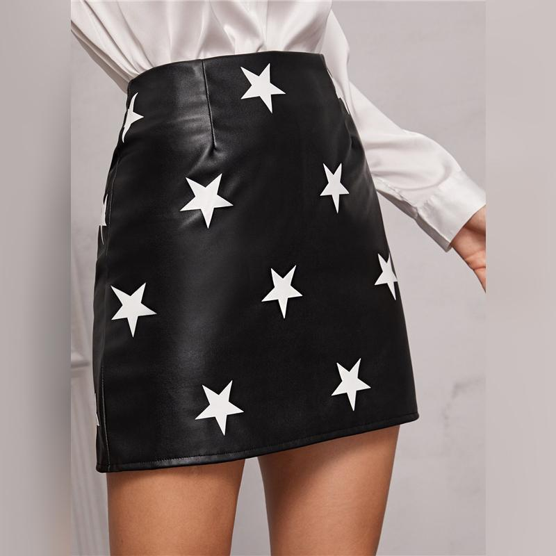 BLACK STAR PRINT PU LEATHER MINI SKIRT-Cosmique Studio-Aesthetic Clothing Store