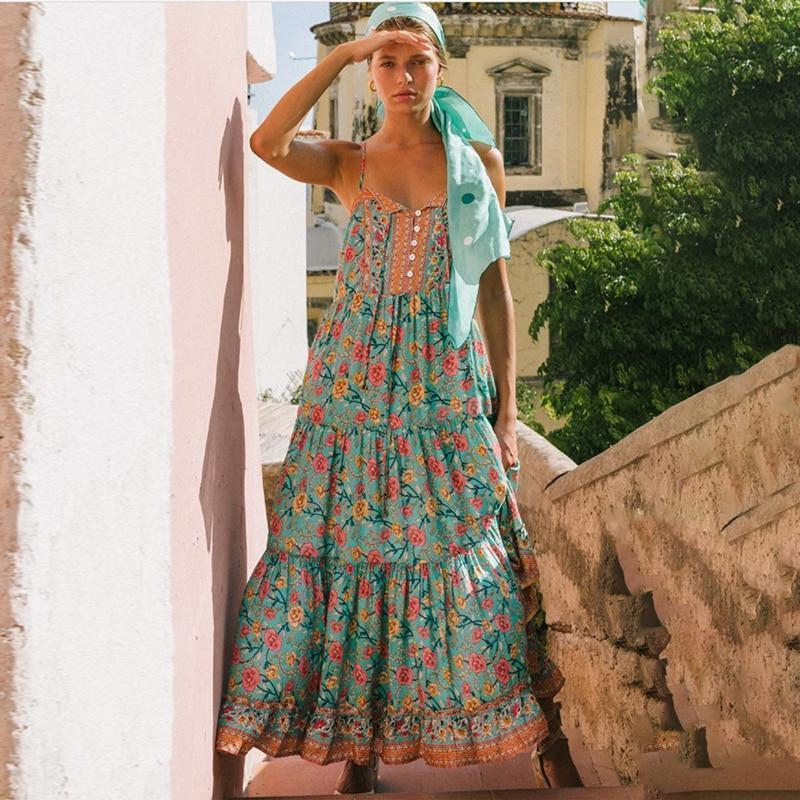 BOHO INSPIRED GREEN FLORAL SUMMER DRESS-Cosmique Studio